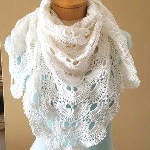 White Crocheted Triangle Shawl Womens Scarf